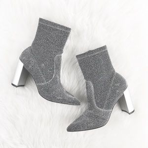 """Chinese Laundry """"Geass"""" Silver Glitter Neo Booties"""